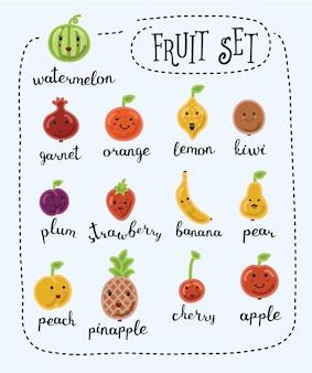 Illustrazione di frutta carino divertente cartone animato con volti sorridenti e nome di lettere in inglese su sfondo bianco isolato