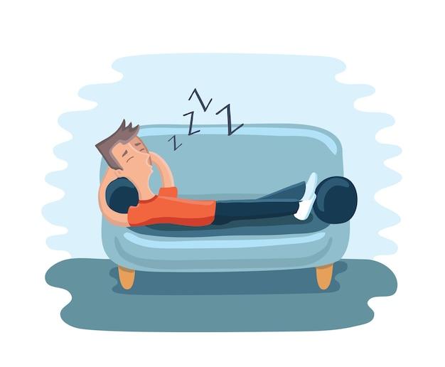 Illustrazione di un uomo divertente cartone animato che dorme a casa sul divano.