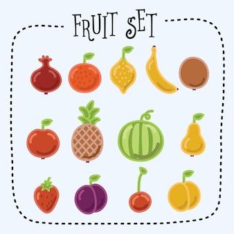 Illustrazione del set di icone di frutta divertente