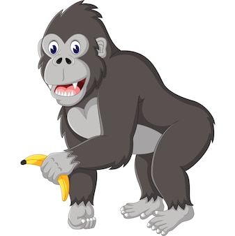 Illustrazione del cartone animato divertente gorilla Vettore Premium