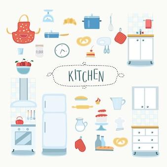 Illustrazione della cucina divertente, interni e strumenti da cucina e set di elementi