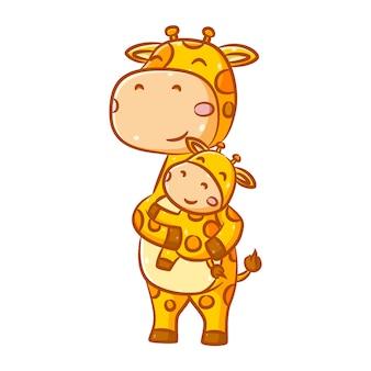 L'illustrazione della divertente giraffa alta con il motivo arancione tiene la sua piccola giraffa con le mani