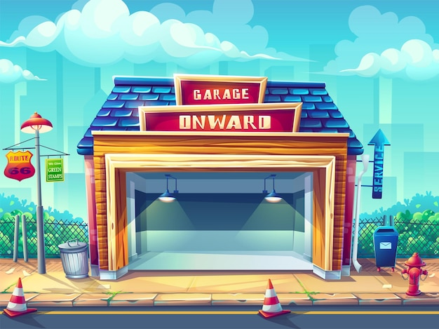 Illustrazione garage pin-up style Vettore Premium