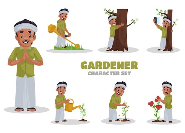 Illustrazione di set di caratteri giardiniere