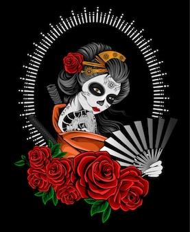 Geisha di illustrazione con fiore rosa