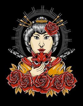 Illustrazione donna geisha con fiore rosa Vettore Premium