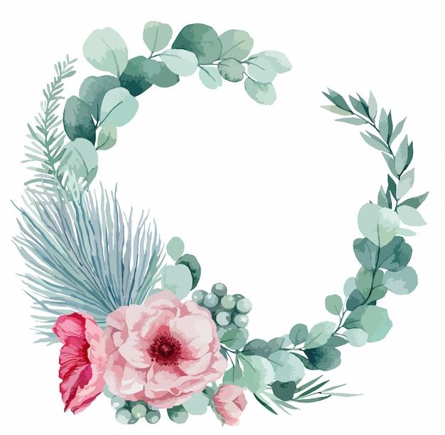Illustrazione di una ghirlanda delicata per un invito a nozze da eucalipto, anemoni rosa, foglie di palma e papaveri.