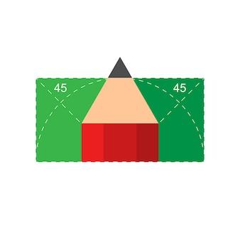 Illustrazione di una lezione di geometria. lezioni di geometria a scuola e all'università. simbolo della geometria con angoli di 45 gradi e una matita. eps vettoriale 10