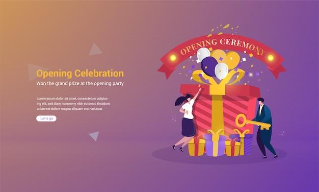 Illustrazione di ottenere un gran premio con il concetto di cerimonia di apertura