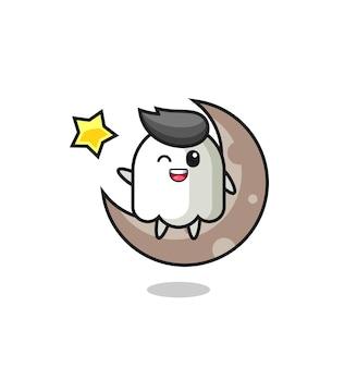 Illustrazione del fumetto fantasma seduto sulla mezza luna, design in stile carino per maglietta, adesivo, elemento logo