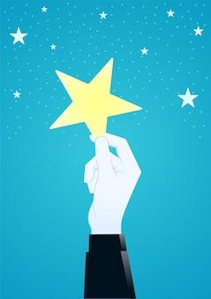 Illustrazione della mano gigante raccogliendo un concetto di business star illustrazione