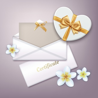 Illustrazione del buono regalo con presente sul tavolo