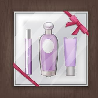 Illustrazione di articoli di profumo regalo sulla confezione con nastro rosa