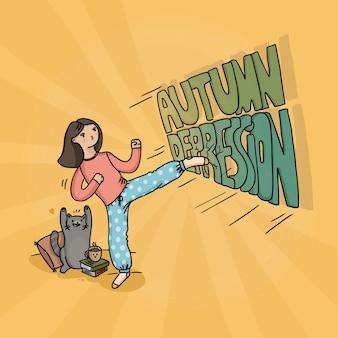Illustrazione di una ragazza e un gatto che combattono la depressione autunnale