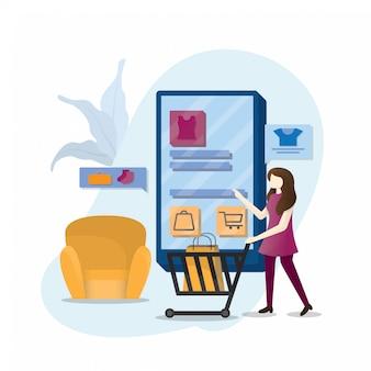 Illustrazione del negozio online ragazza con smartphone, design in stile piatto isolato su sfondo bianco