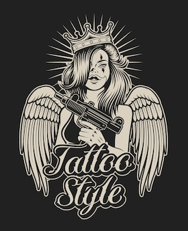 Illustrazione di una ragazza con una pistola in stile tatuaggio chicano. perfetto per stampe di camicie e molti altri usi.