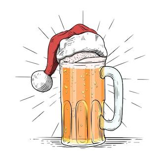 Illustrazione di birra in vetro con stile incisione festa di natale