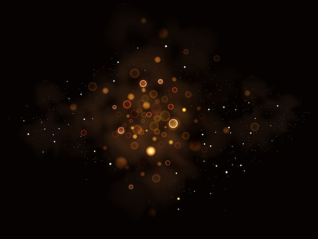 Illustrazione di stelle scintillanti, polvere, bagliore, oro, luci.