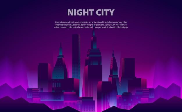 Illustrazione bagliore neon colore notte città grattacielo edificio con la luce elettrica per il modello di sfondo