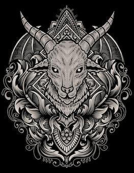 Illustrazione testa di capra con ornamento inciso