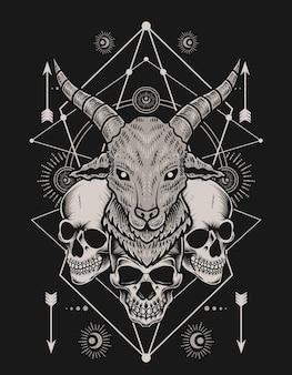 Illustrazione testa di capra con teschio su sfondo nero
