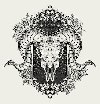 Illustrazione teschio di capra con ornamento incisione