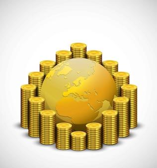 Illustrazione della moneta d'oro con il globo d'oro
