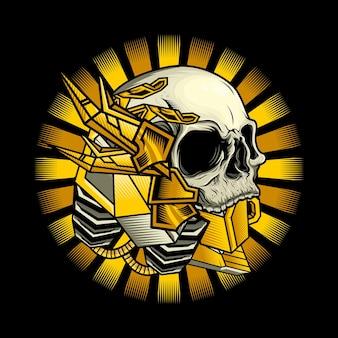 Illustrazione della progettazione dettagliata della testa del cranio del cyborg dell'oro