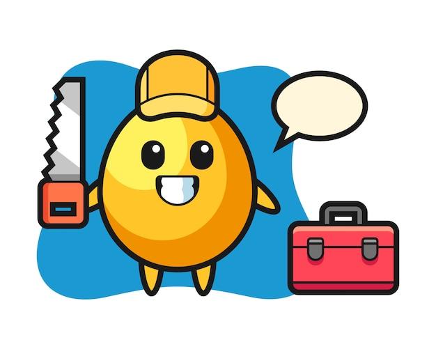 Illustrazione del carattere dell'uovo d'oro come falegname, design carino stile