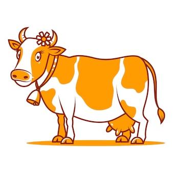 Illustrazione, buona mucca sorridente, formato eps 10