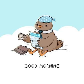 Illustrazione buongiorno, uccello si siede su una nuvola beve caffè con un giornale