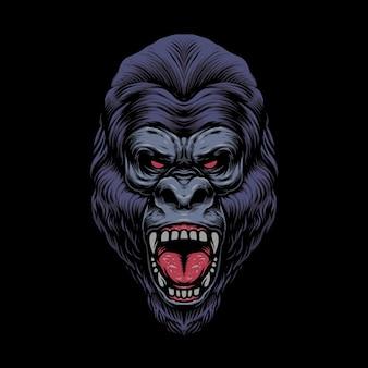 Illustrazione del design della testa di gorilla