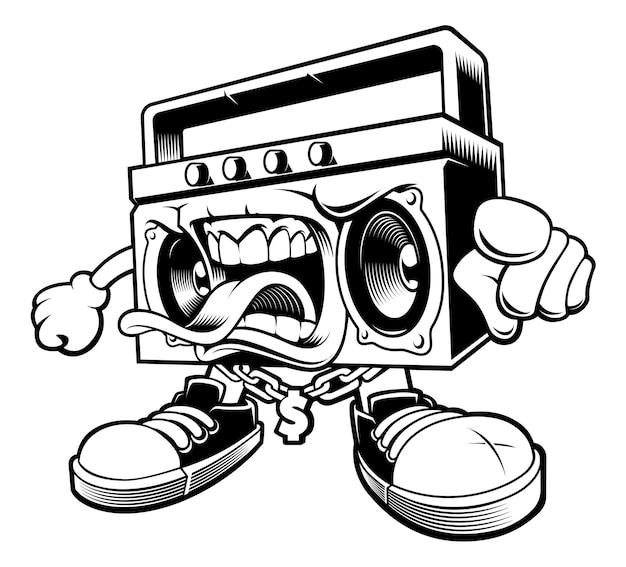 Illustrazione del personaggio boombox graffiti. isolato su sfondo bianco.