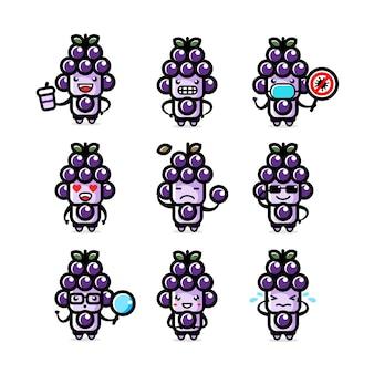 Illustrazione dei set di caratteri dell'uva