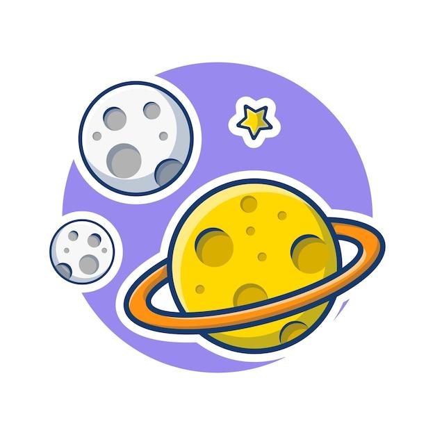 Grafico dell'illustrazione della luna e del pianeta