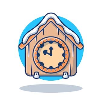Grafico dell'illustrazione dell'orologio dell'annata con la neve