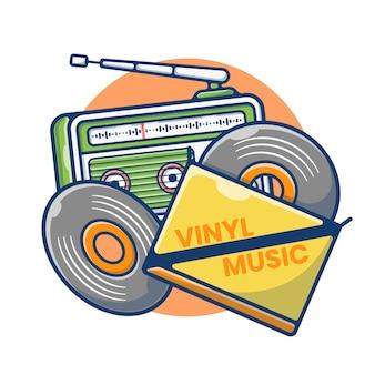 Illustrazione grafica di cassette in vinile e radio vintage. vinile registrazione audio. stile cartone animato piatto