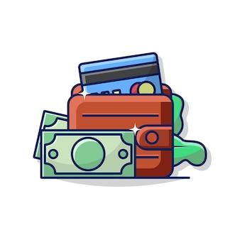 Grafico dell'illustrazione del portafoglio con l'icona di alcuni soldi e carta di credito