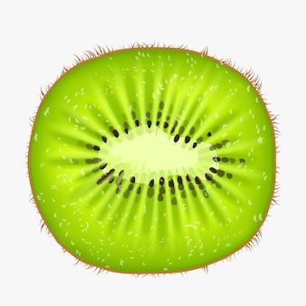 Illustrazione della vista frontale della frutta del kiwi di colore verde isolata su bianco