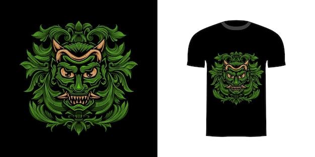 Illustrazione oni verde con incisione ornamento per il design della maglietta