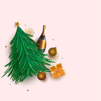 Illustrazione di albero di natale verde con bottiglia di champagne 3d, palline, fiocchi di neve e confezione regalo