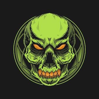 Illustrazione di zombie verde con dettagli geometrici
