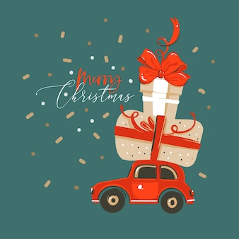 Illustrazione biglietto di auguri con confezioni regalo di natale a sorpresa e auto