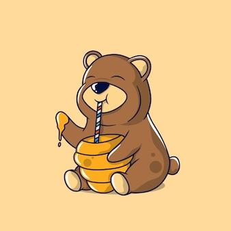 Illustrazione di grizzly che mangia miele usando una cannuccia e la sua mano destra dal suo alveare dritto