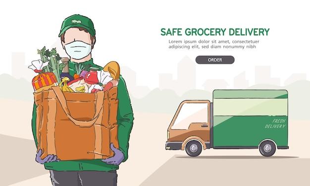 Illustrazione dell'uomo di consegna della drogheria che indossa maschera e guanti mentre lavora, consegna a casa tua. concetto di consegna sicura.