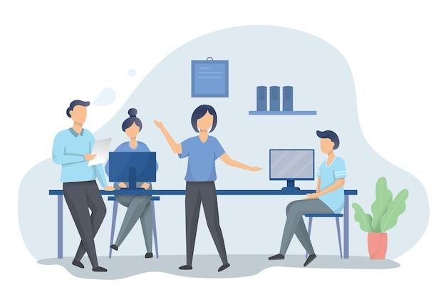 Illustrazione di un gruppo di persone o di impiegati seduti attorno al tavolo e discutendo di problemi di lavoro, team che lavora nell'ambito del progetto. illustrazione in stile cartone animato piatto.