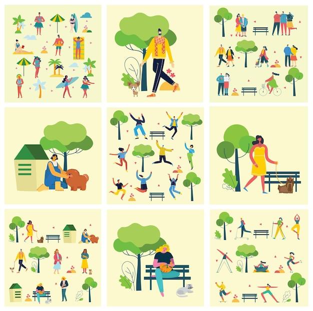 Illustrazione di persone di gruppo che camminano all'aperto nel parco nel fine settimana in stile piatto