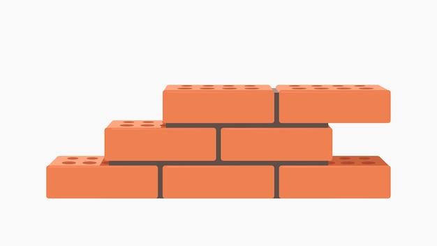 Illustrazione del gruppo di mattoni rossi realistici in un muro con cemento isolato su bianco