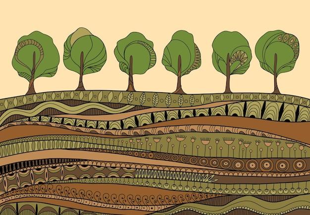 Illustrazione degli alberi in crescita Vettore Premium