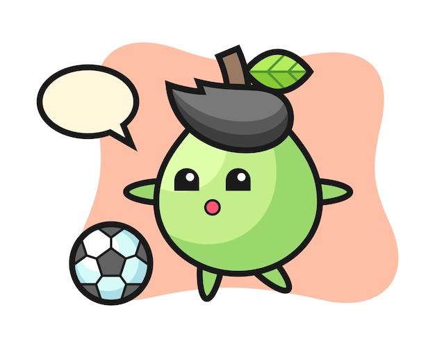 L'illustrazione del fumetto della guaiava sta giocando a calcio, progettazione sveglia di stile per la maglietta, l'adesivo, elemento di logo